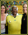 Shareen Anderson and Lisa Henry with Nobel Prize winner Archbishop Desmond Tutu in Cape Town, South Africa.